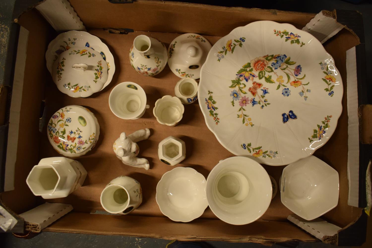 A collection of Aynsley Cottage Garden items to include a cake stand, trinkets, vases etc. Generally