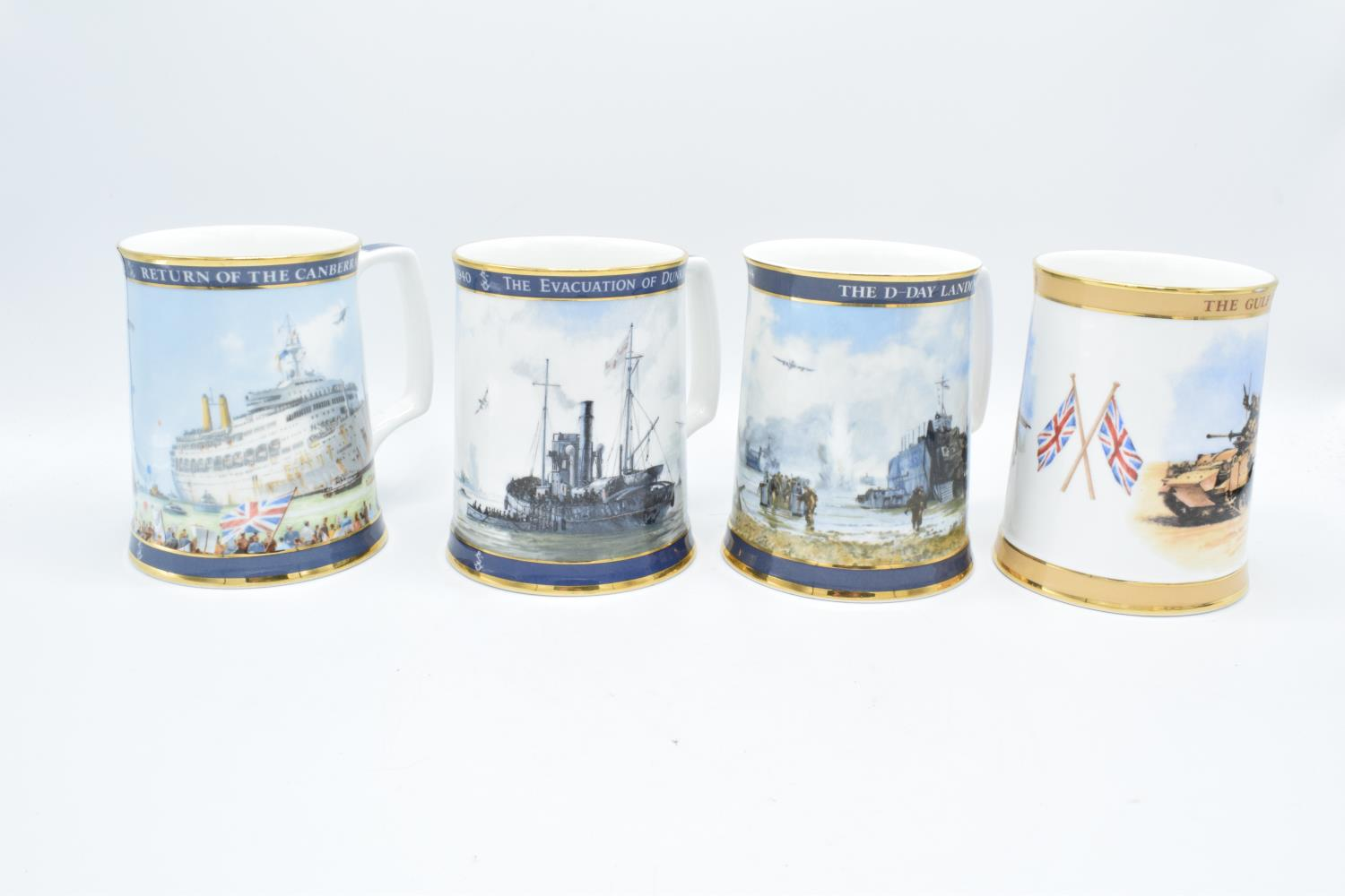 A collection of Royal Doulton tankards to commemorate Gulf War, D-day Landings, Dunkirk and the