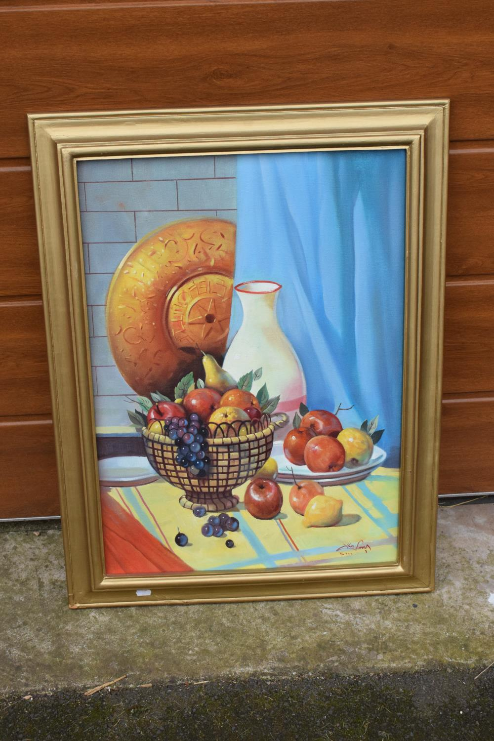 Framed oil painting of a still life scene, signed. - Image 2 of 5