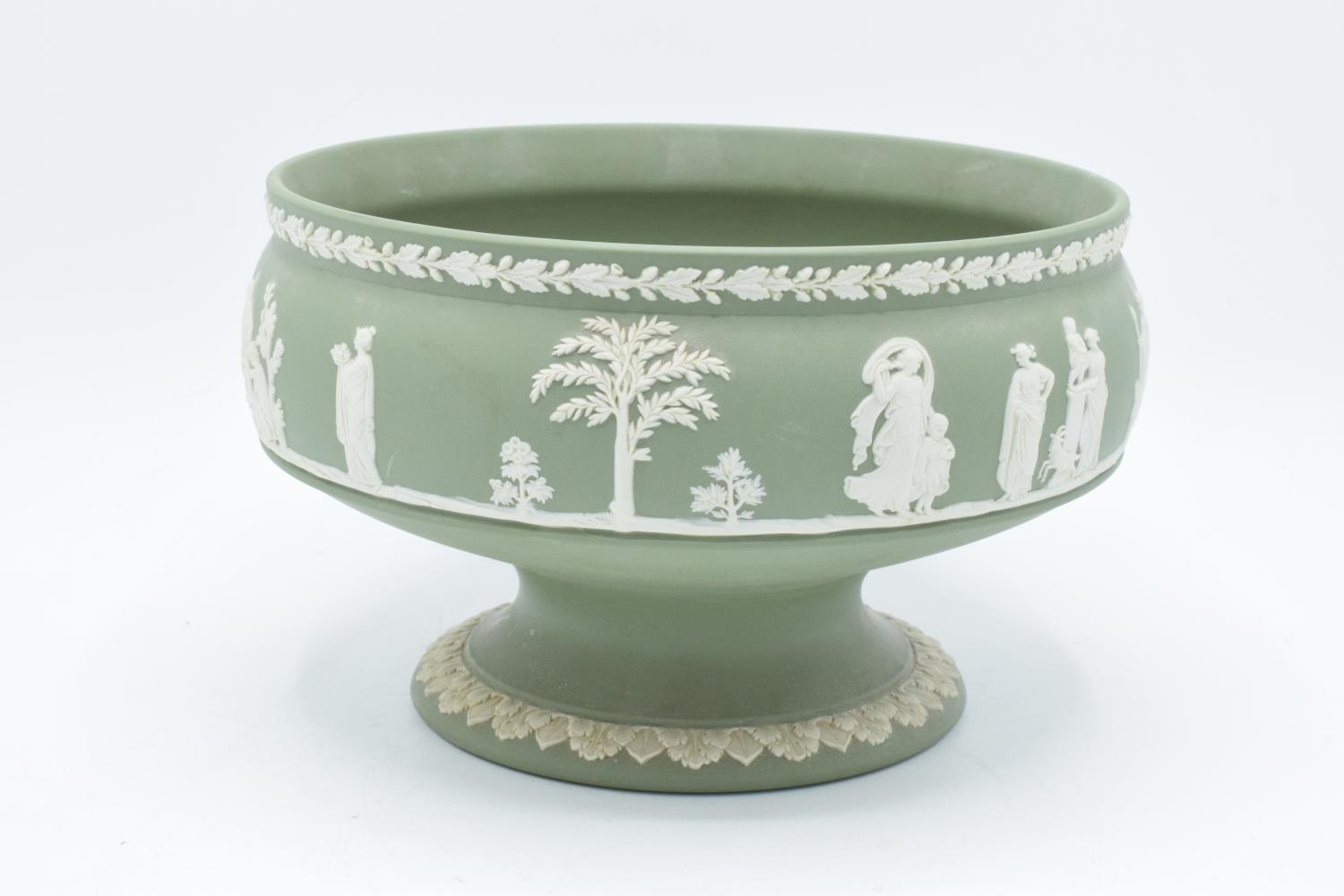Wedgwood Jasperware sage green footed bowl together with a water jug and a black vase (3). In good - Image 3 of 5