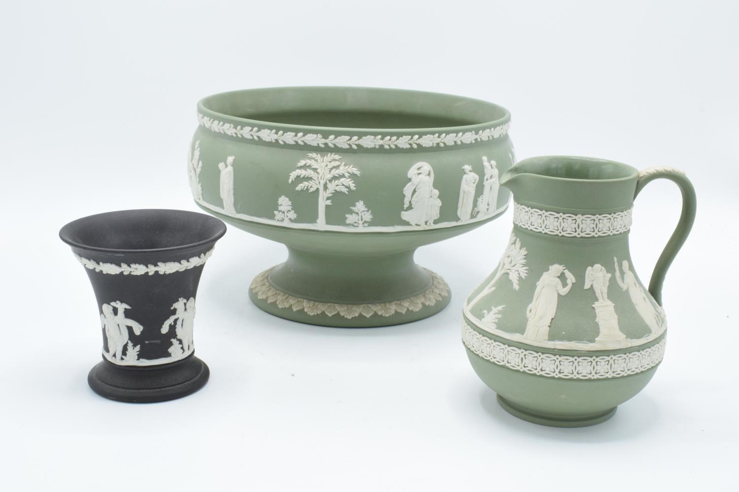 Wedgwood Jasperware sage green footed bowl together with a water jug and a black vase (3). In good - Image 2 of 5