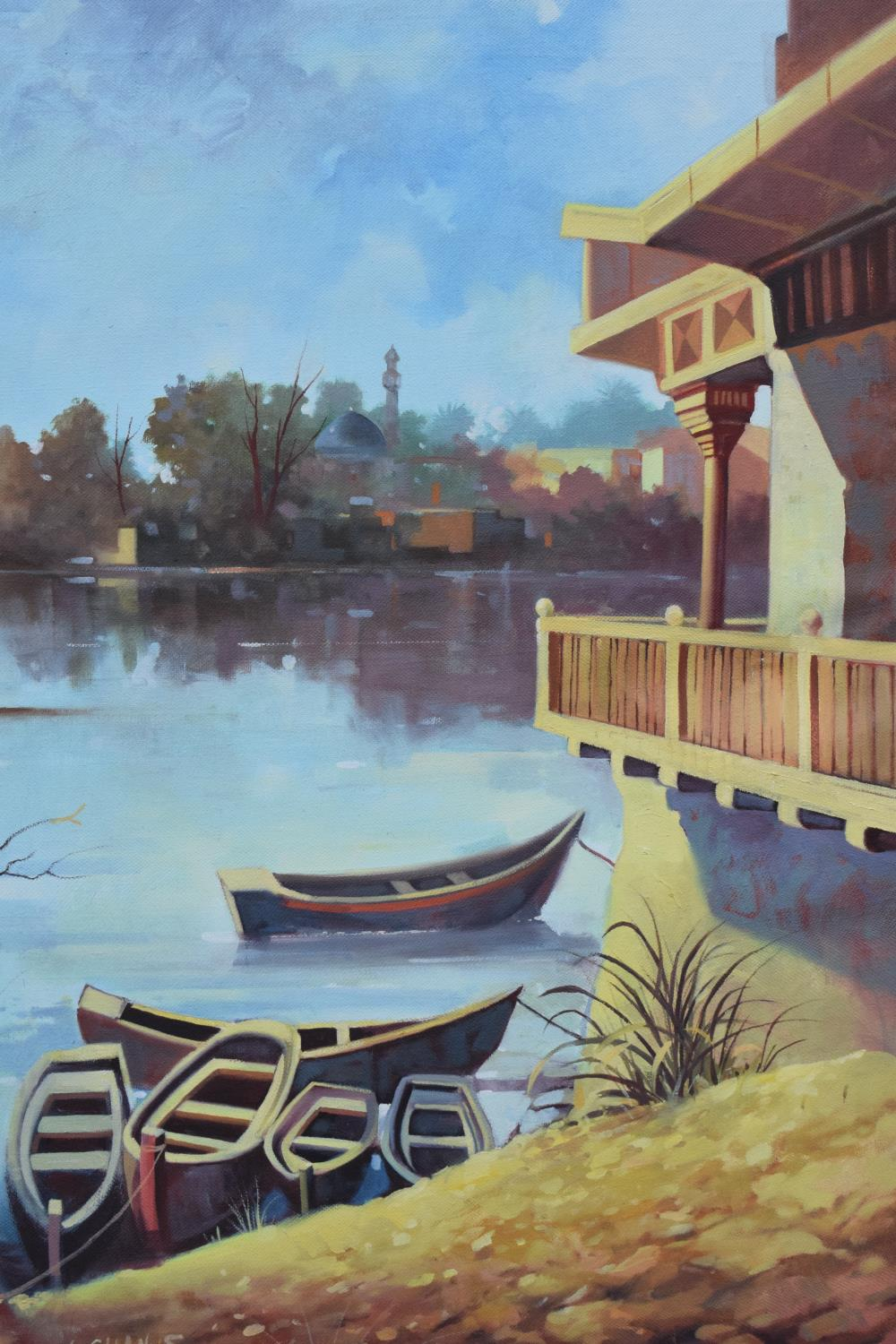 Framed oil painting of a lakeside scene, signed. - Image 4 of 6