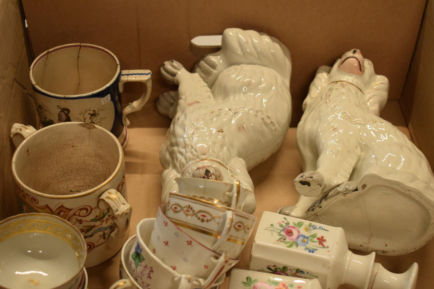 A collection of 19th century pottery to include Staffordshire dogs, tankards, opaque bottles etc. No - Image 3 of 3