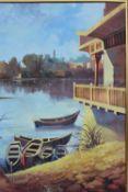 Framed oil painting of a lakeside scene, signed.