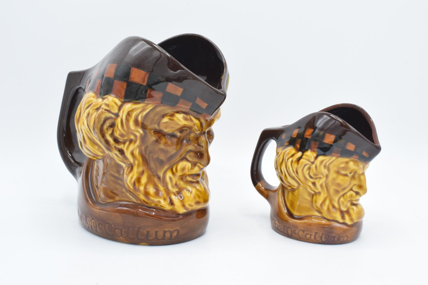 A pair of The McCallum character jugs in a larger and small size, both unmarked, though believed - Image 2 of 3