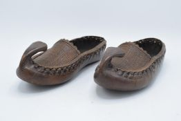 Antique leather and wicker work pair of shoes/slippers, potentially Turkish. In good condition