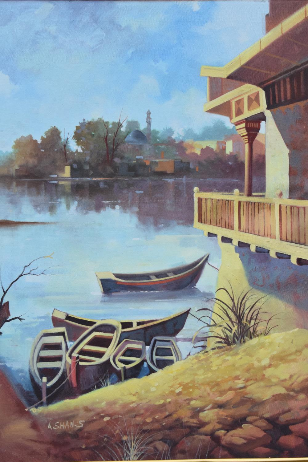 Framed oil painting of a lakeside scene, signed. - Image 3 of 6