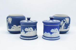 A collection of Adams of Tunstall blue jasperware to include 2 bulbous vases with threaded rims