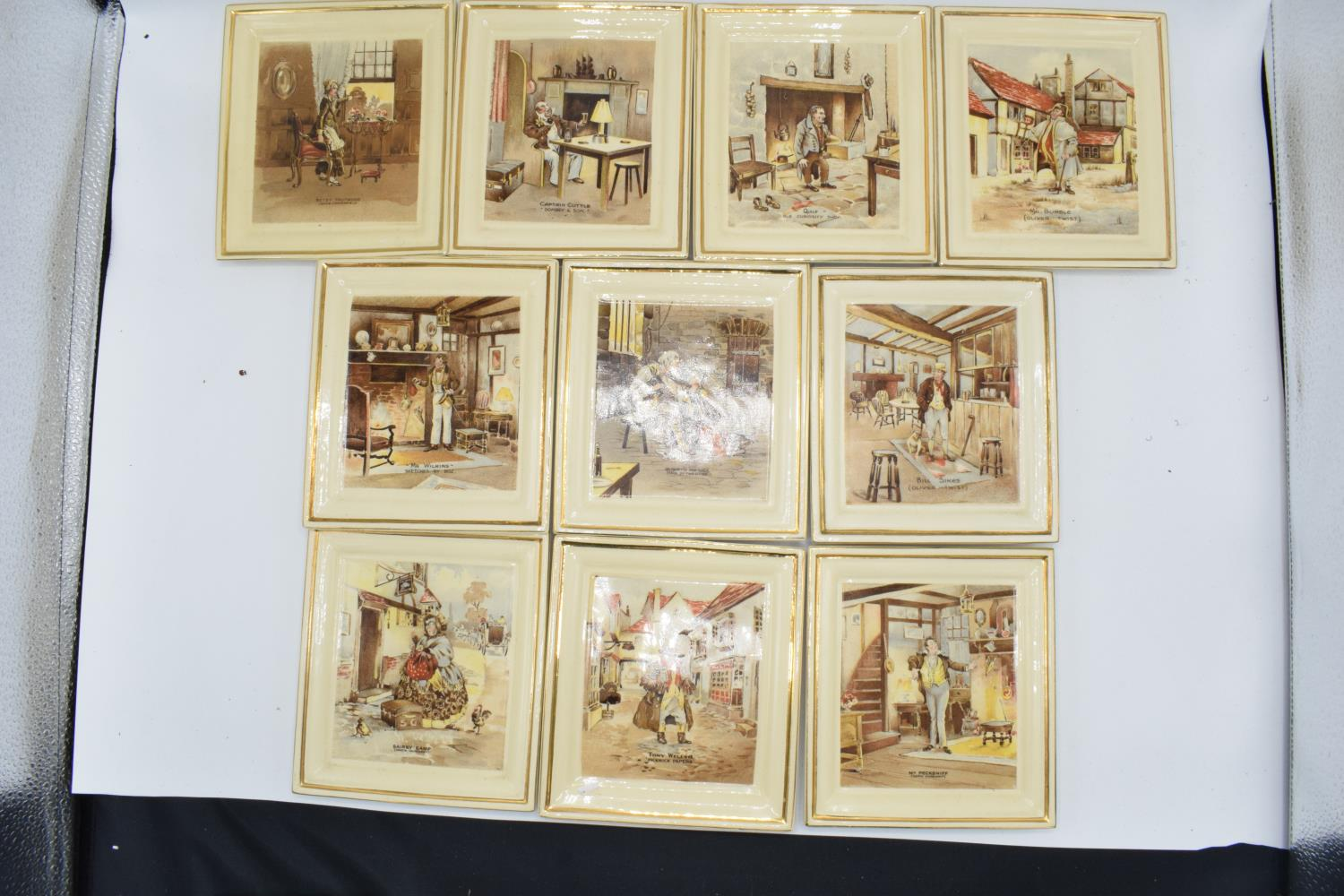 Newhall Pottery of Hanley Dickens wall plaques. In good condition, age related crazing throughout, 1