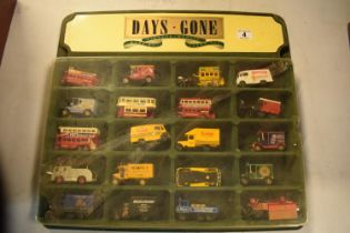 Days Gone /Lledo Vintage Models display unit together with 20 vehicles (21). Felt on display has