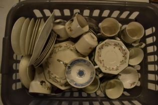 A large collection of mixed tea and dinner ware to include Royal Doulton, Coalport, Johnson Brothers