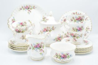 A collection of Royal Albert items in the Moss Rose design to consist of a large teapot, milk and