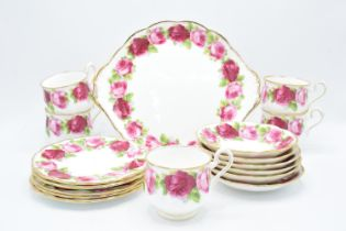 A collection of Royal Albert tea ware in the Old English Rose design to consist of 5 duos, 5 side