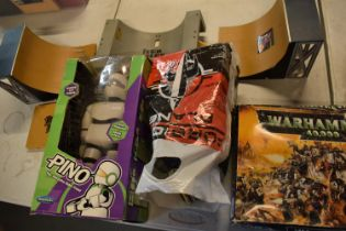 A mixed collection of items to include childrens books, toys, The Rocketeer 3d comic, Lego etc. No
