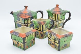 A part tea set in the Ye Olde Inne design, believed to be Royal Winton/ Grimwades, to include a