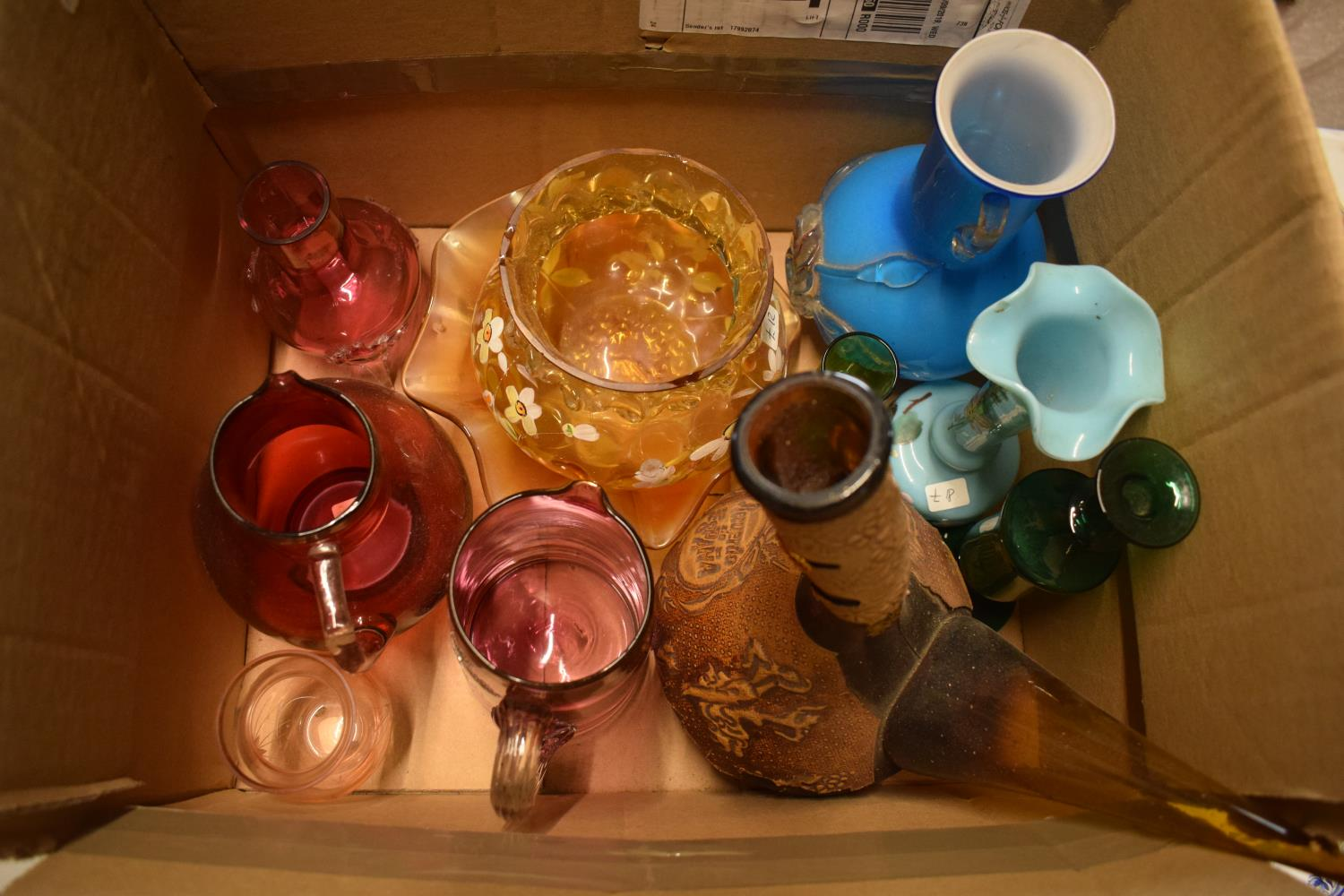 A collection of mainly 19th century glassware to include cranberry etc. Condition is mixed. No