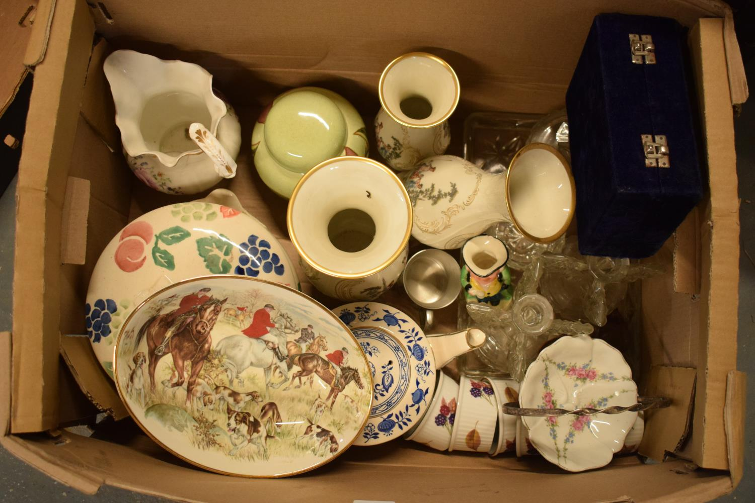 A mixed collection of items to include Royal Worcester, Carlton Ware, a glass dressing table set