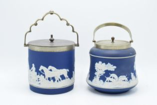 Adams of Tunstall dark blue jasperware biscuit barrels both with silver plate rims and lids (2).