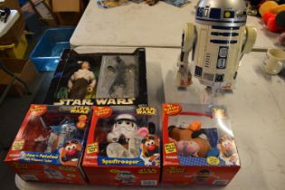 A collection of Star Wars toys to include Mr Potato Head Spud trooper, Artoo-Potato, Han Solo as