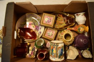 A mixed collection of items to include Carlton Ware, a fruit scene plate, Sylvac, Toby jugs etc.