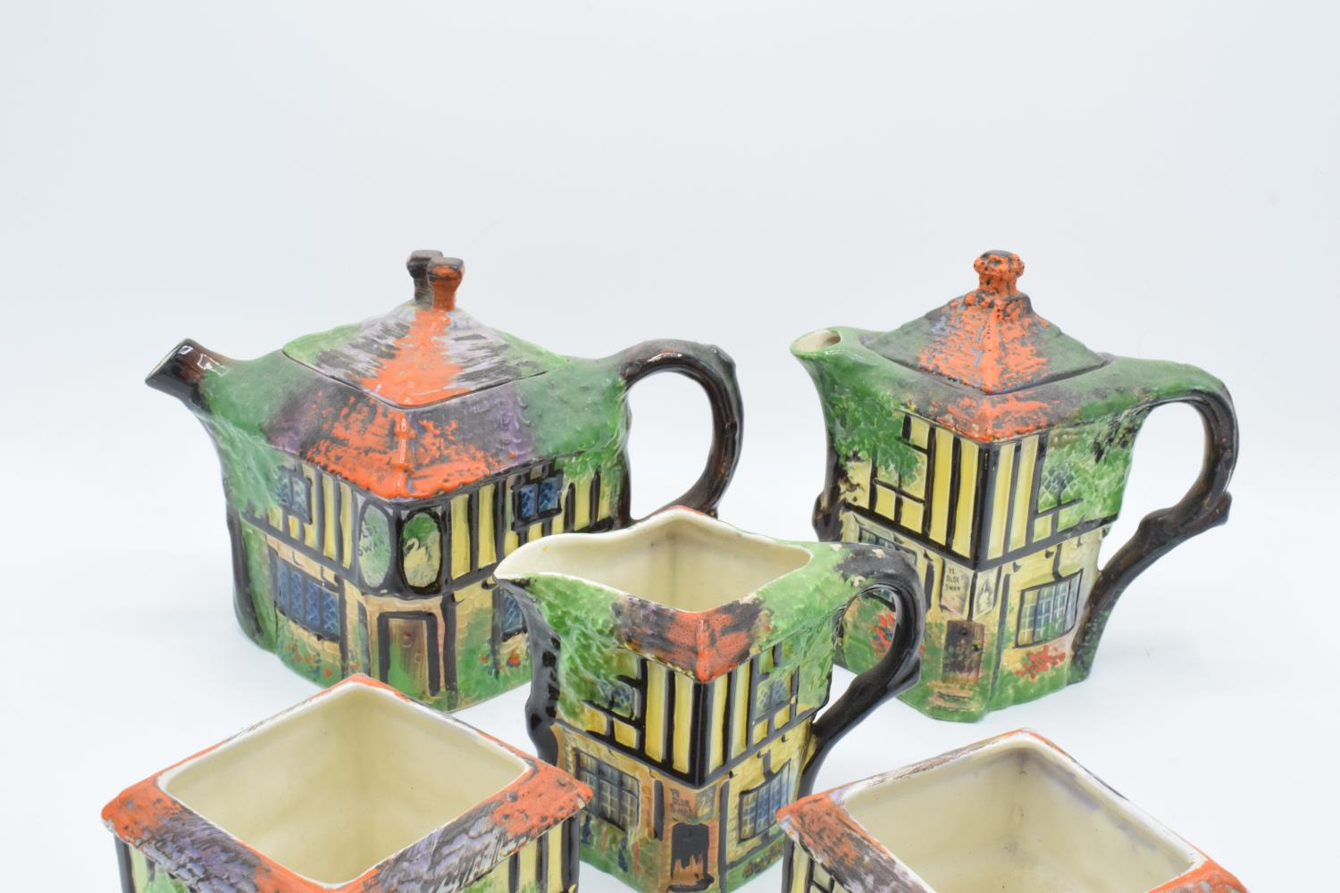 A part tea set in the Ye Olde Inne design, believed to be Royal Winton/ Grimwades, to include a - Image 2 of 3