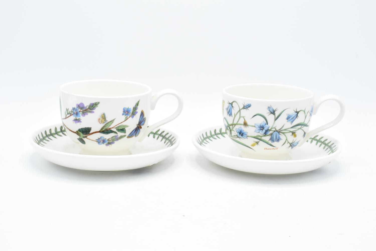 A pair of Portmeirion breakfast cups and saucers in the Botanic garden design (both seconds). In