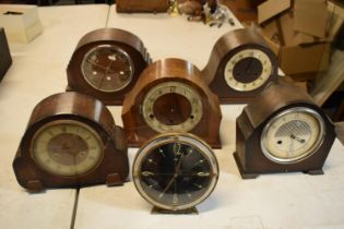 A collection of wooden cased mantle clocks, all spares and repairs. No postage.