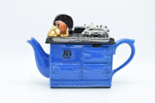 Swineside Ceramics novelty teapot in the style of an aga with a cat. In good condition without any