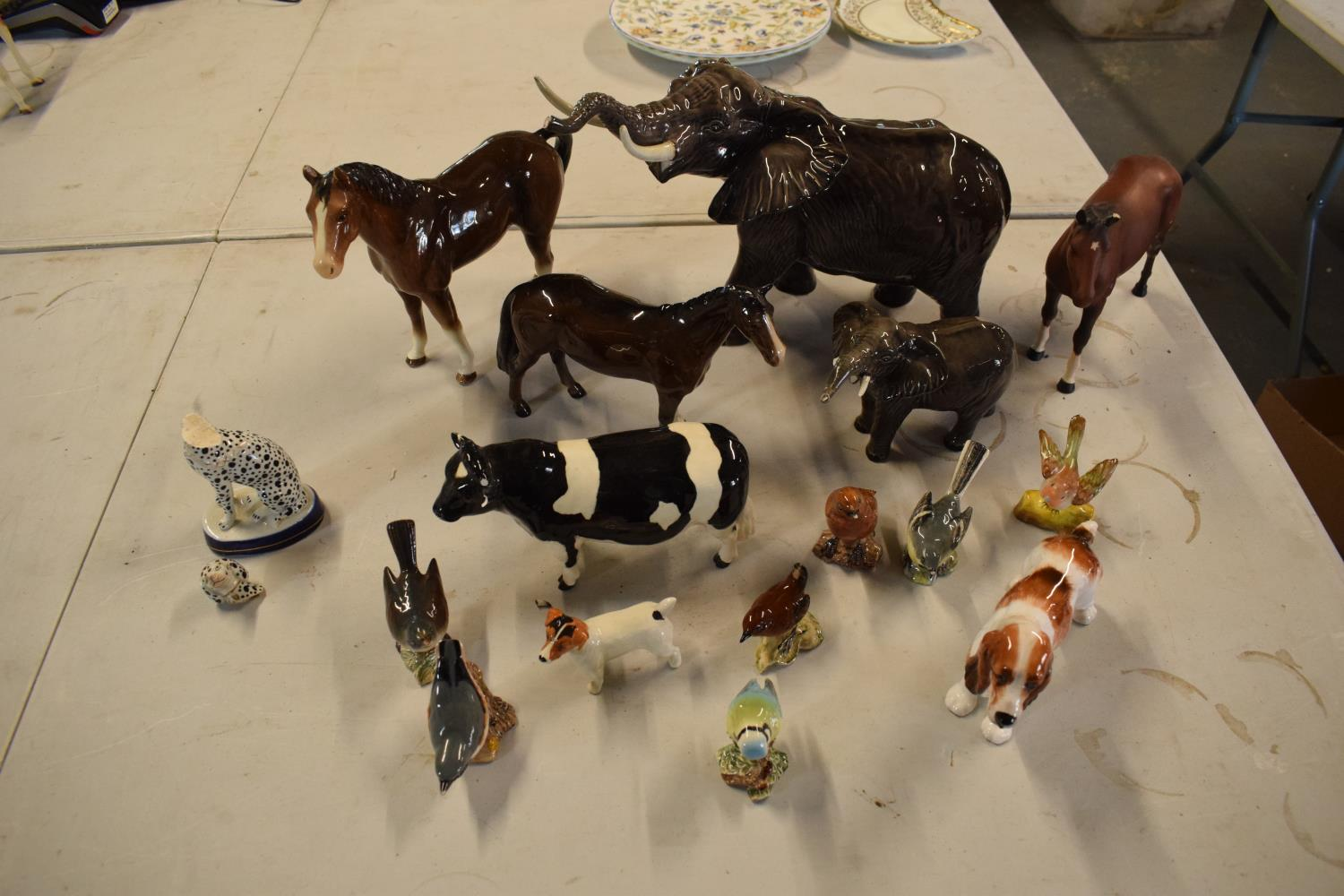 A collection of mainly Beswick animals to include elephants, a bull, birds and horses etc (all as - Image 2 of 10