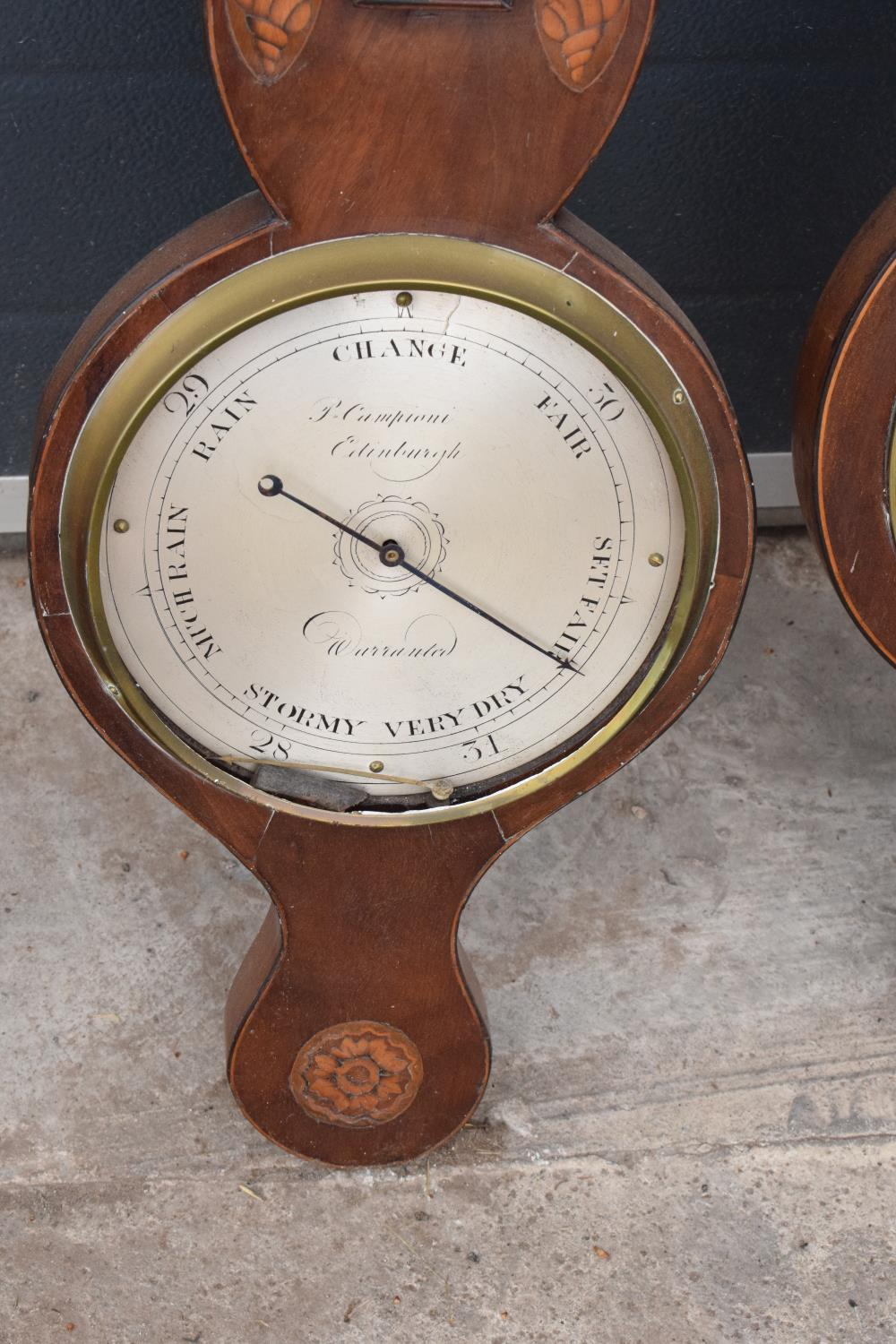A pair of 19th century mahogany barometers one with inlaid motifs such as shell (both a/f). Please - Image 2 of 9