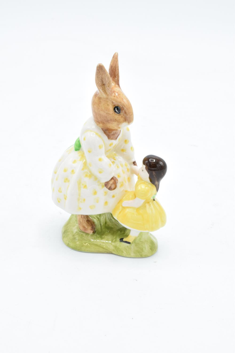 Royal Doulton figure Dollie Bunnykins DB80. Special colourway commission for D H Holmes. In good