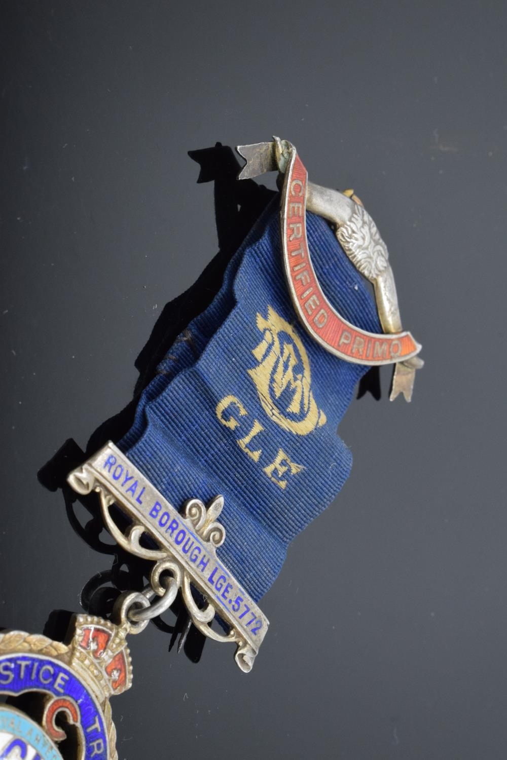 A silver medal and ribbon presented to Arthur J Thorne by the Royal Borough Lodge (GLE) Birmingham - Image 3 of 12
