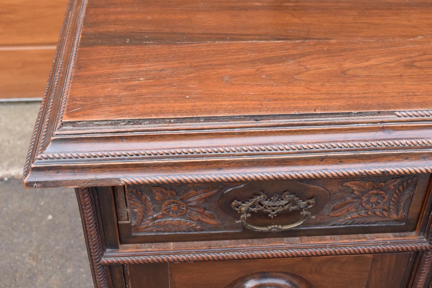Edwardian large carved oak mirror backed sideboard. 178 x 64 x 224cm height. In good functional - Image 14 of 18