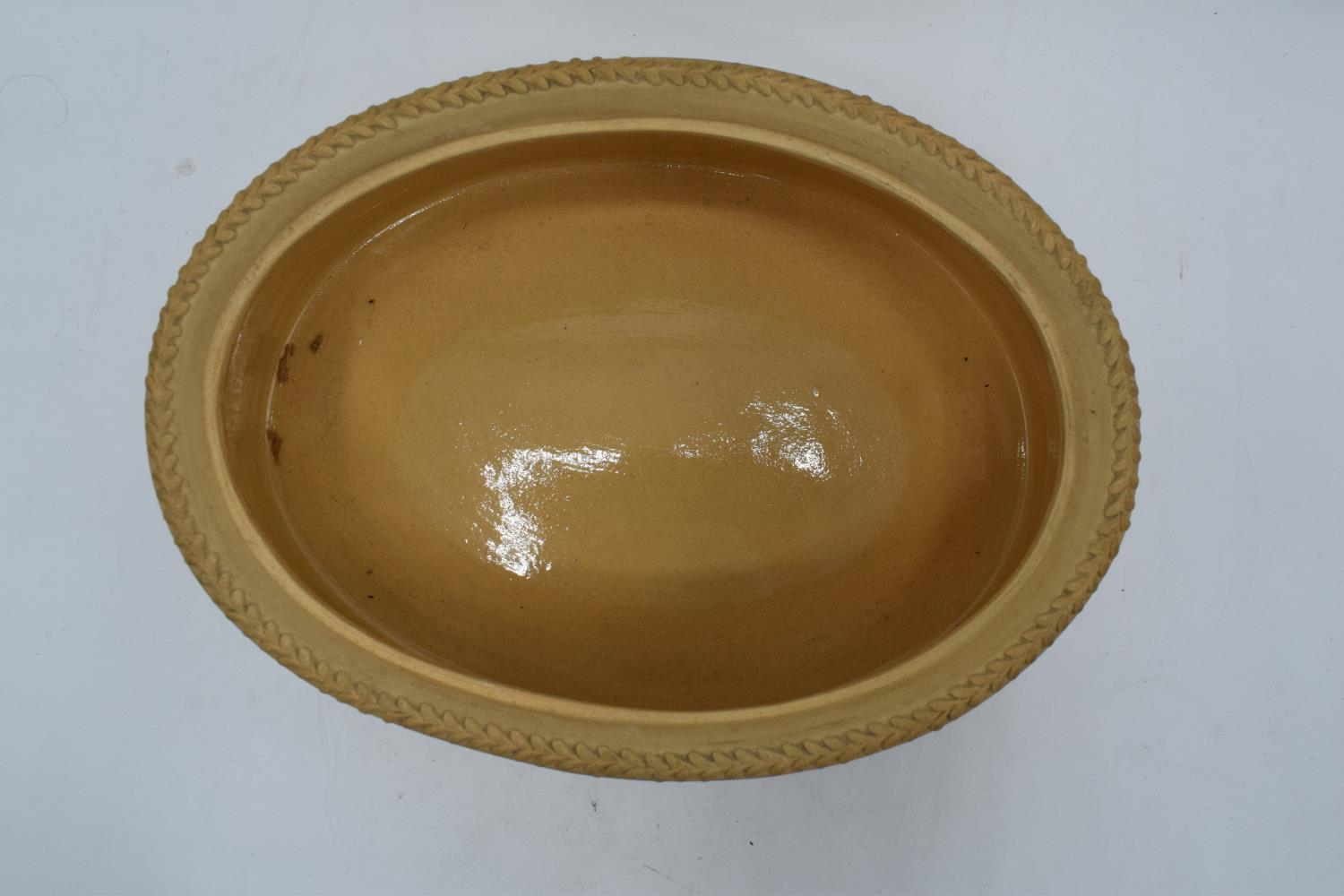 Wedgwood Caneware game pie dish with a rabbit finial (a/f). The main body is in good condition - Image 7 of 9