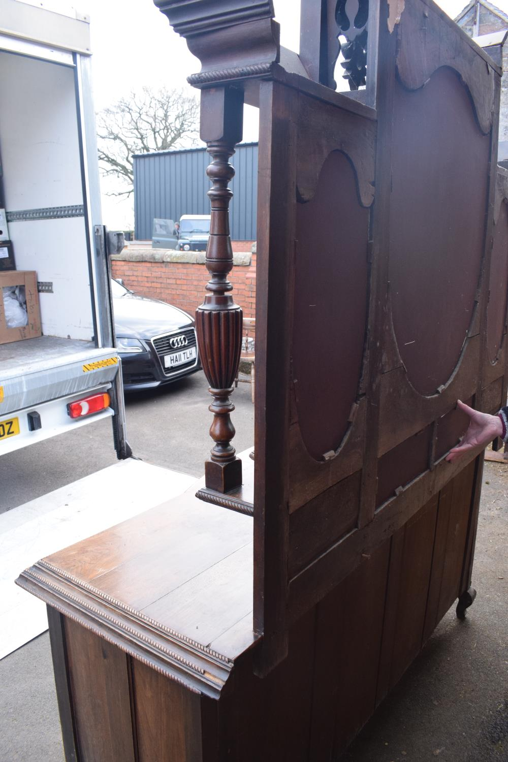 Edwardian large carved oak mirror backed sideboard. 178 x 64 x 224cm height. In good functional - Image 11 of 18