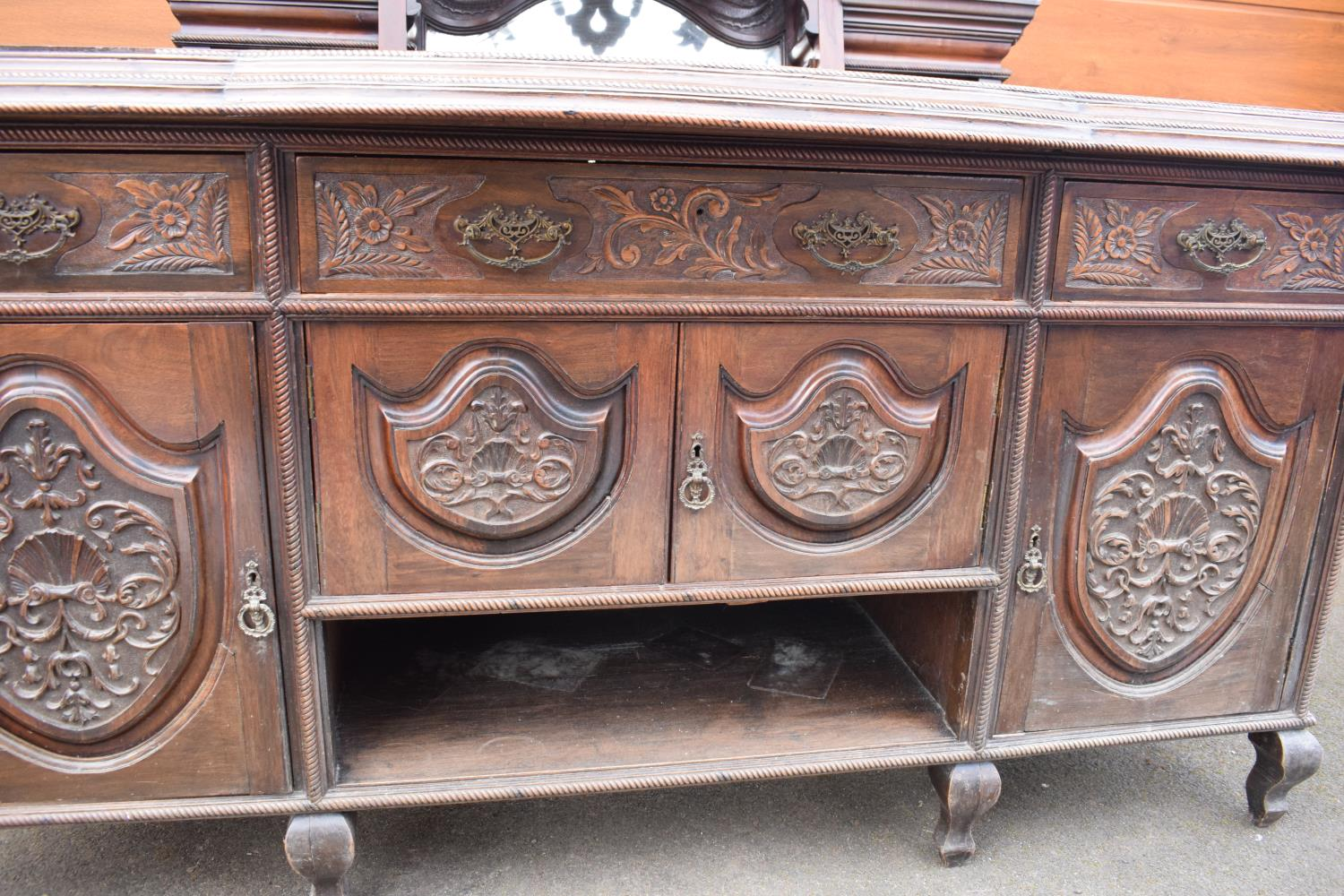 Edwardian large carved oak mirror backed sideboard. 178 x 64 x 224cm height. In good functional - Image 16 of 18