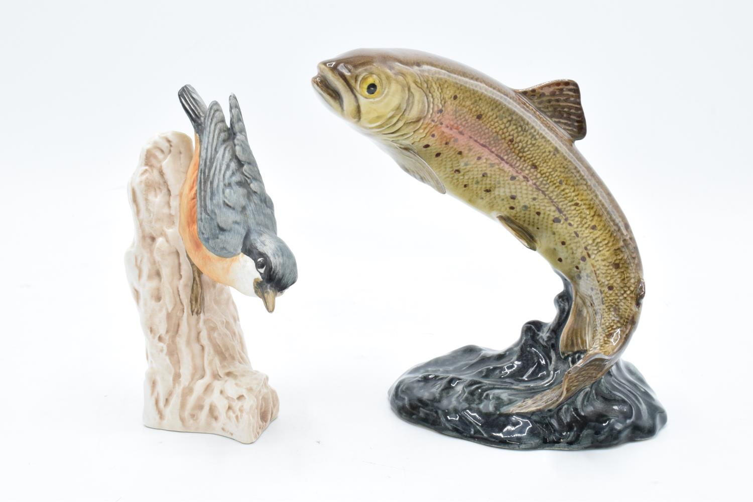 Beswick model of a Trout 1032 together with a Goebel Nuthatch CV84 (2). Both are in good condition