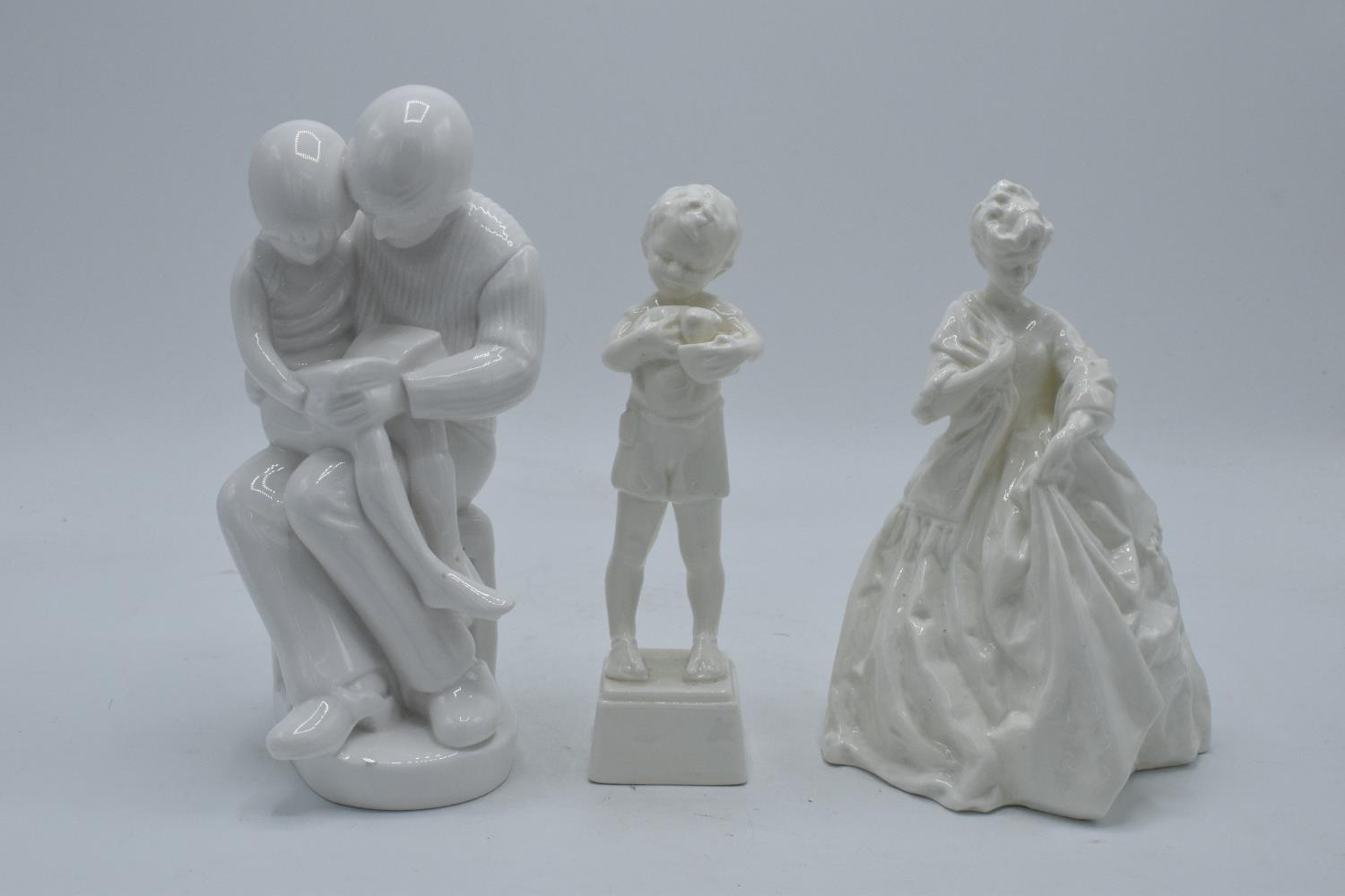 A collection of blanche china figures to include Royal Worcester Friday's Child, one other and Spode