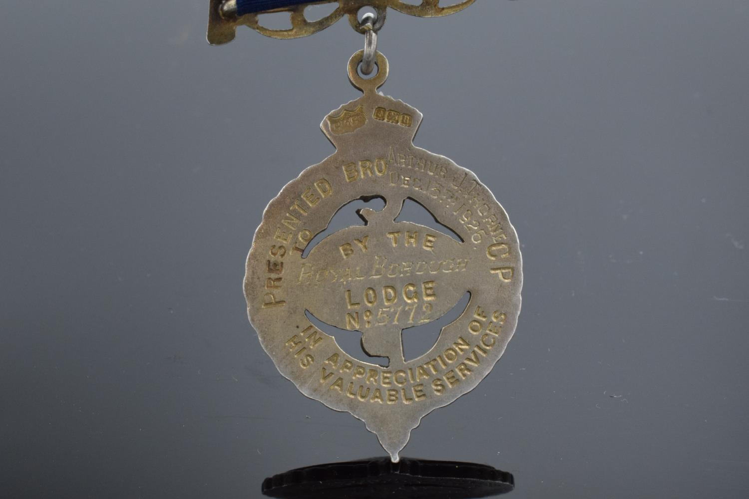 A silver medal and ribbon presented to Arthur J Thorne by the Royal Borough Lodge (GLE) Birmingham - Image 6 of 12