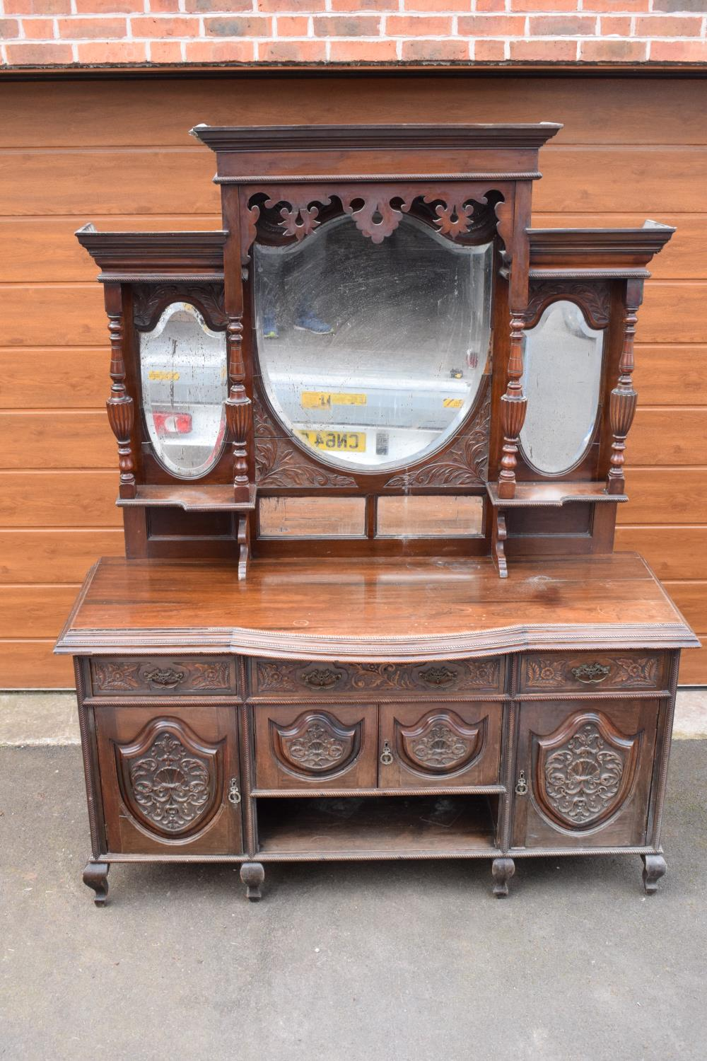 Edwardian large carved oak mirror backed sideboard. 178 x 64 x 224cm height. In good functional