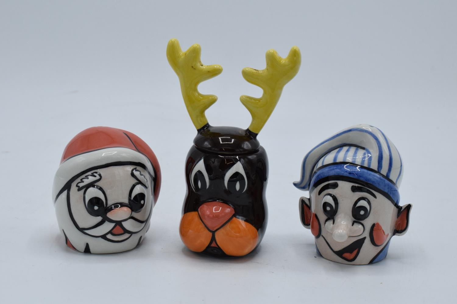 Lorna Bailey cruet set in the form of santa, a snowman and a reindeer (3). In good condition with no