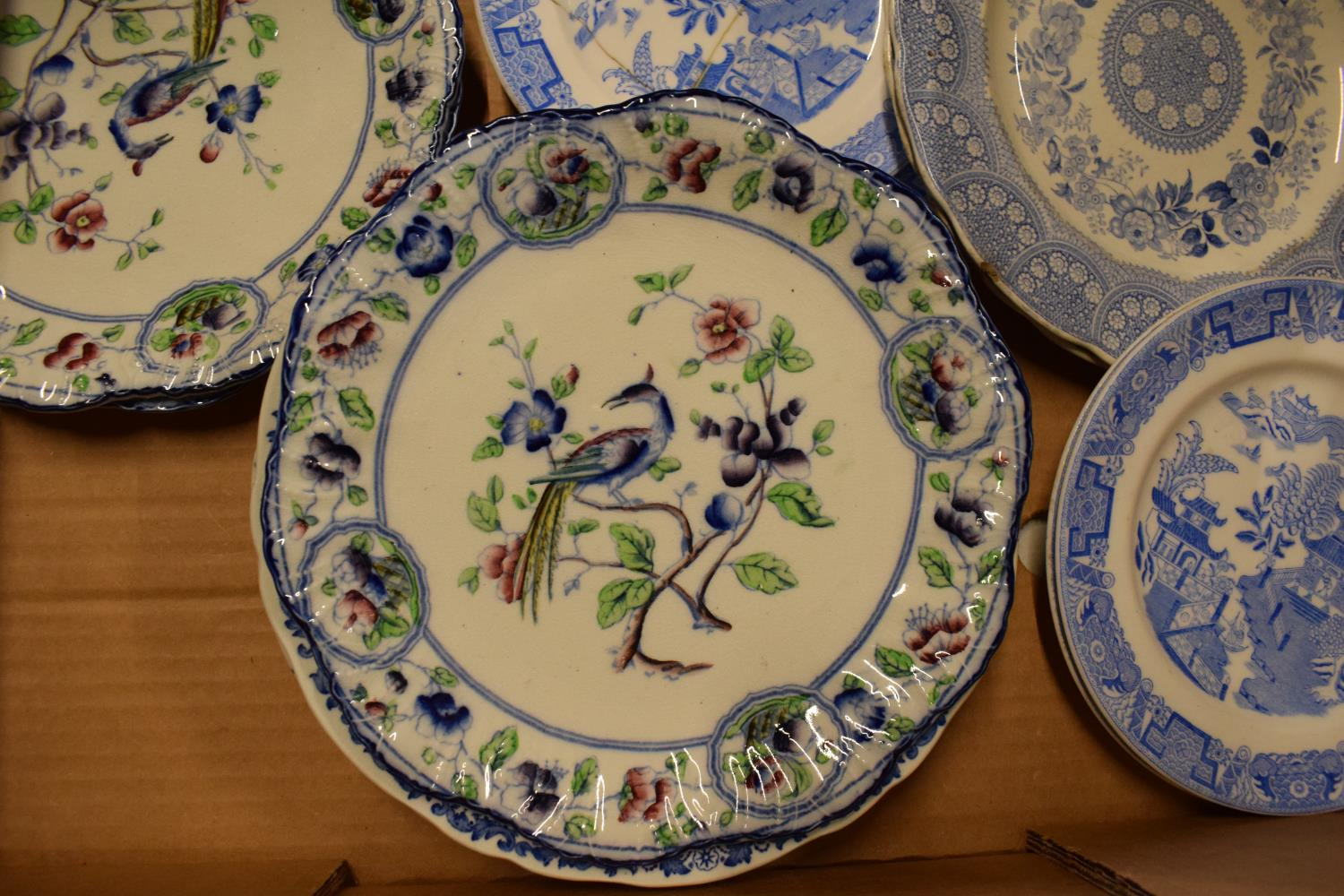 A collection of 19th century plates to consist of mainly blue and white to include various makes - Image 2 of 2