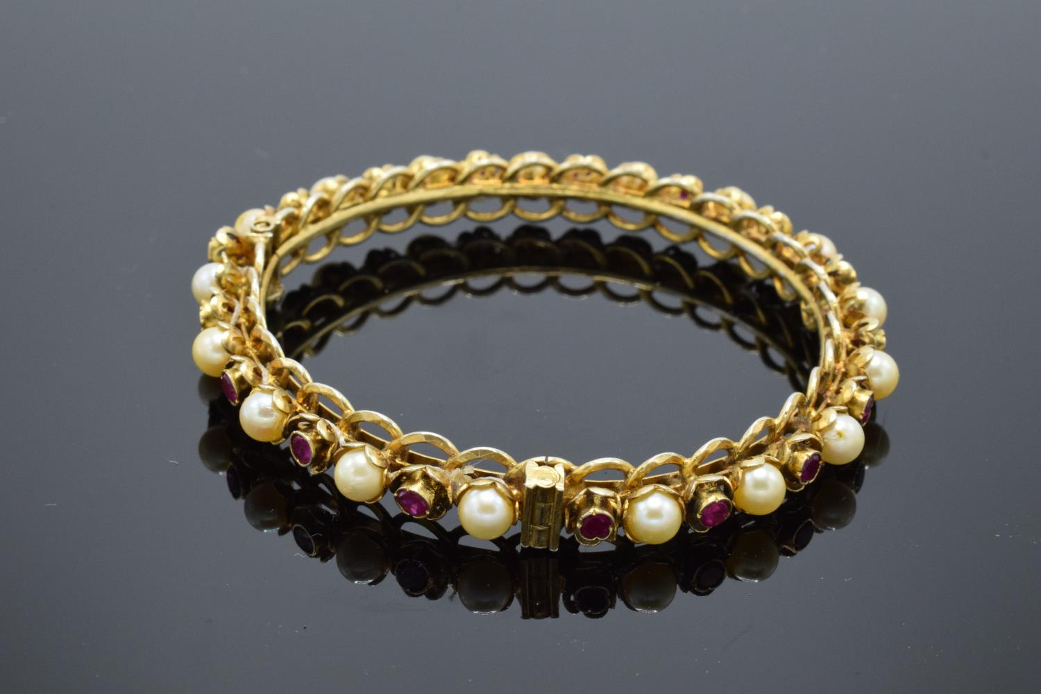 Quality silver gilt bangle set with ruby and pearl stones. - Image 2 of 3