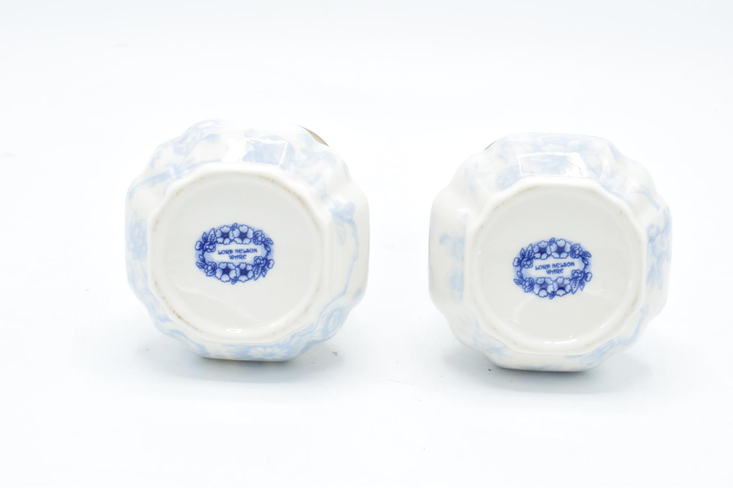 A pair of conical sugar shakers by Lord Nelson Ware in a blue chintz design (2). In good condition - Image 2 of 2