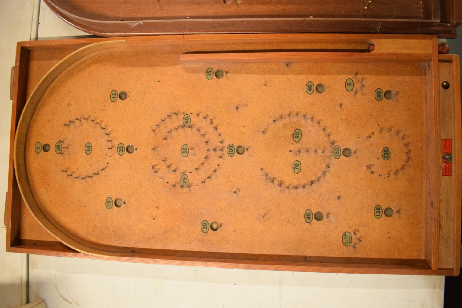 A pair of 20th century wooden bagatelle games complete with associated balls. One is made by Chad - Image 4 of 5