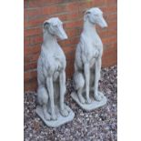 Reconstituted stone large models of greyhounds. 75cm tall. Made in England, these items are frost