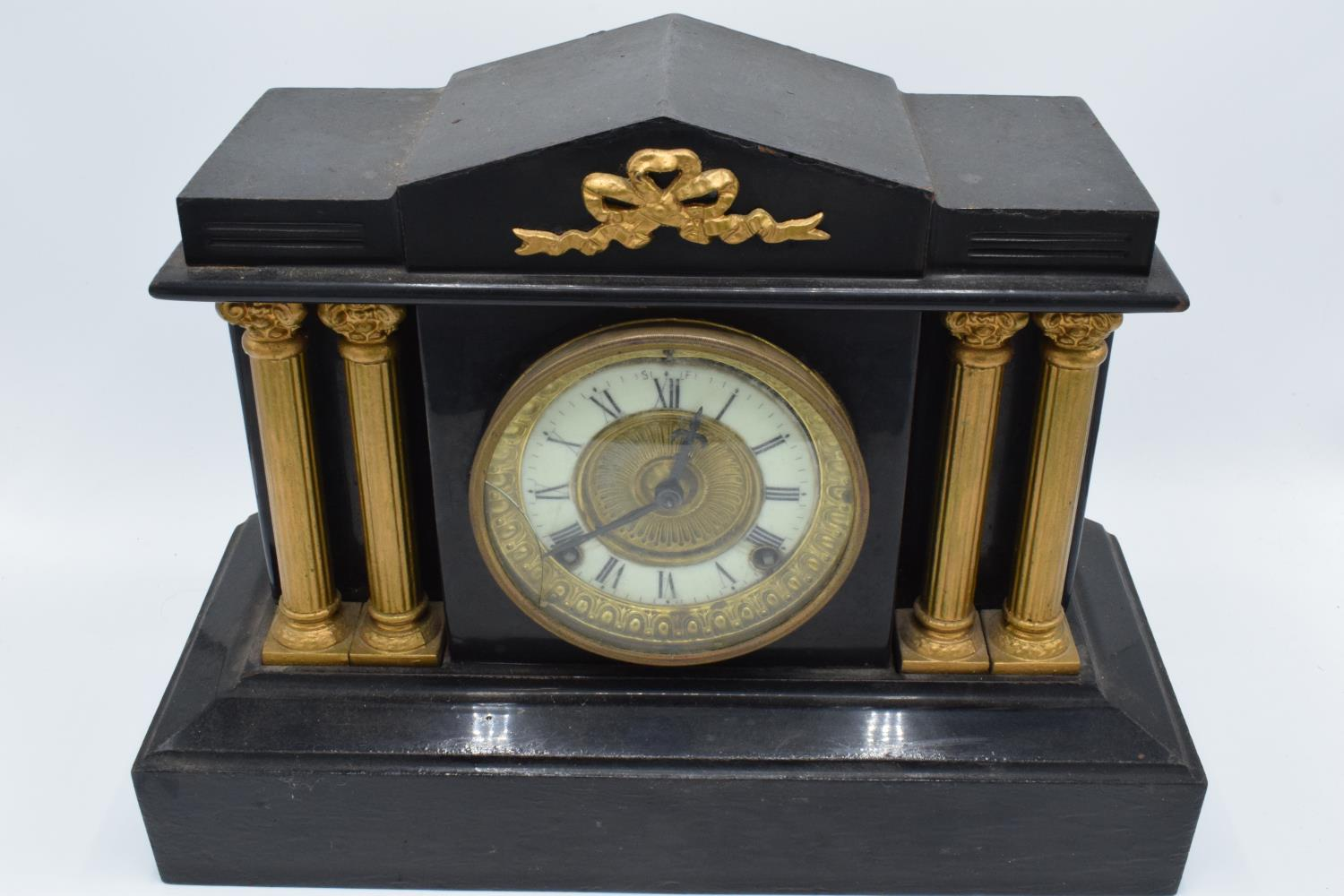 A 19th century mantle clock with gilded pillars with an Ansonia Clock Co movement New York USA. - Image 2 of 9