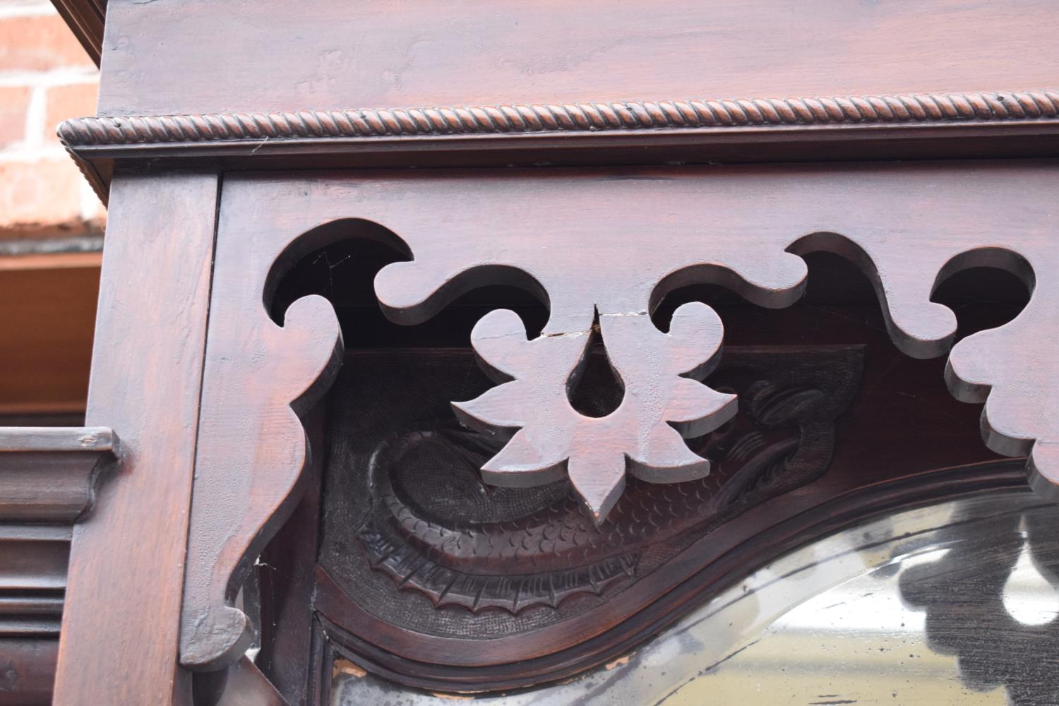Edwardian large carved oak mirror backed sideboard. 178 x 64 x 224cm height. In good functional - Image 3 of 18