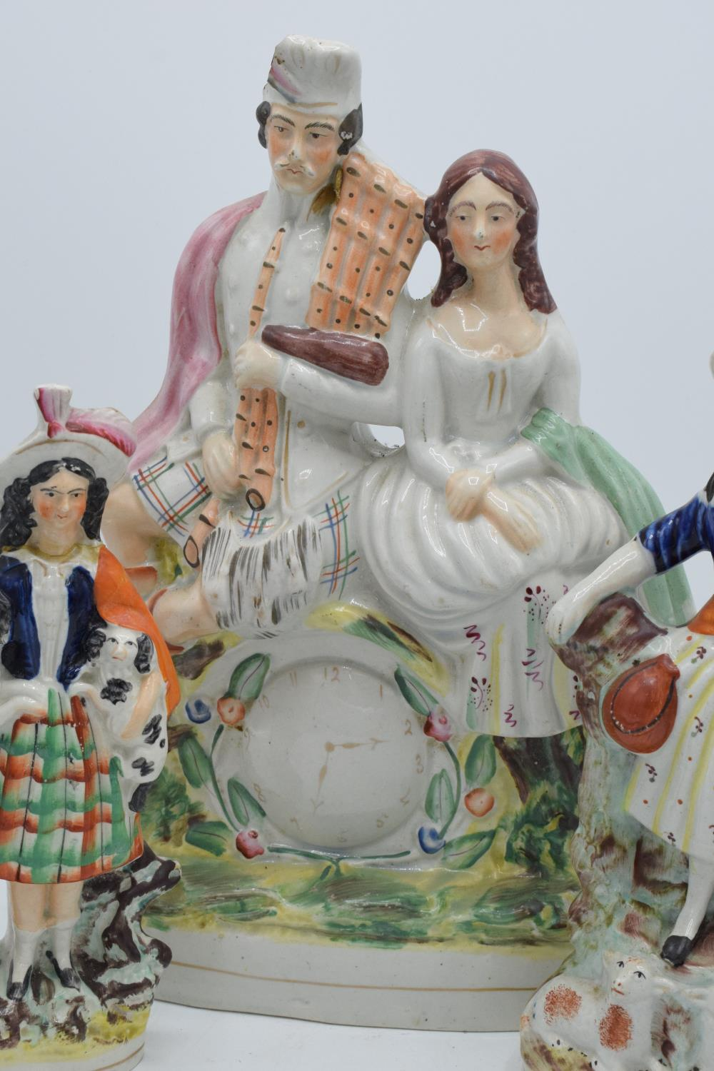 A collection of 19th century Staffordshire flatbacks to include a couple sitting on a clock, - Image 7 of 8