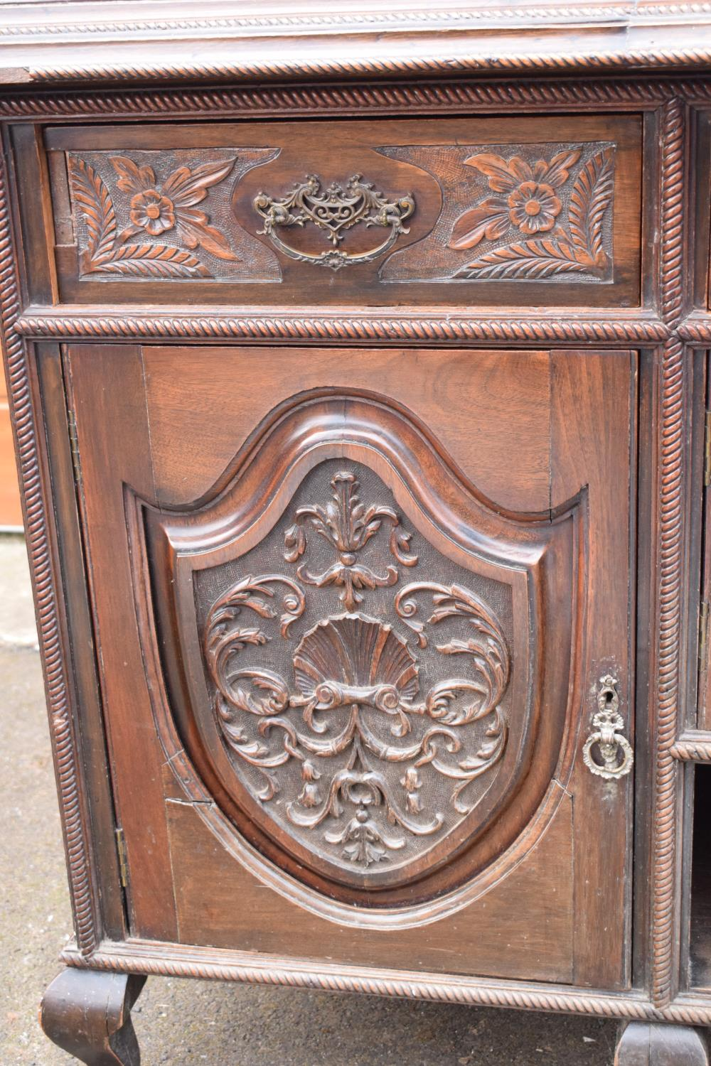Edwardian large carved oak mirror backed sideboard. 178 x 64 x 224cm height. In good functional - Image 15 of 18